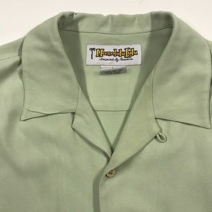 HONOLULU LULU MENS Large Green Silk Casual Shirt